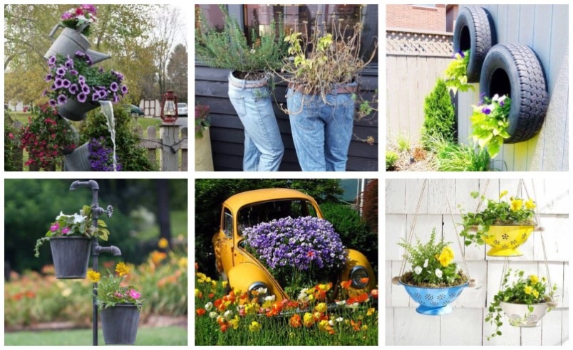 Use old things decorating garden